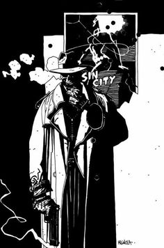 Gallery of pin-ups from Frank Miller's Sin City: The Big Fat Kill published by Dark Horse Comics, Mike Mignola Art, Comic Book Artists, Comic Artist, Comic Books Art, Studio Logo, Fantasy Character, Character Design, Otto Schmidt, Sin City Comic