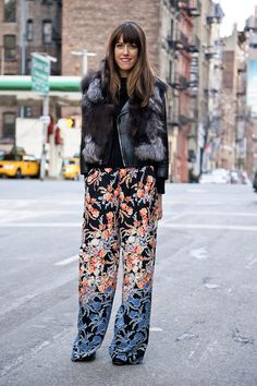 Exotic printed pants with a leather biker jacket.