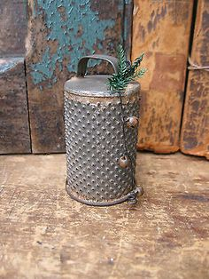 Early Antique Tin Cylinder Grater Tiniest Size...