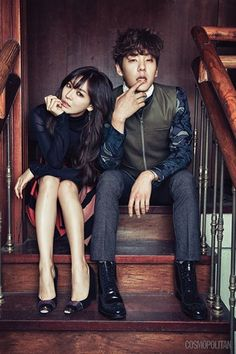"Kim So Yeon and Kwak Si Yang Show Off Their Couple Look for ""Cosmopolitan"" Wgm Couples, Cute Couples, Couple Posing, Couple Shoot, Korean Celebrities, Korean Actors, Kwak Si Yang, Poses, We Get Married"