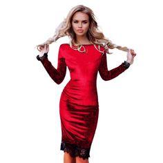 Fashion Women Plus Size Casual Dress Lace Stitching Velvet Elegant Ves – Bestseller Outlets