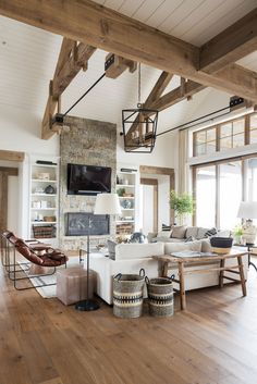 A big, cozy, rustic living space! interior SM Ranch House: The Living Room Cottage Living Rooms, Home Living Room, Living Room Designs, Cottage Homes, Living Room Interior, Wood Living Rooms, Living Room Set Ups, Rooms In A House, Living Room With Windows