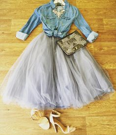 How romantic is this look? Our tulle skirt in gray paired with our light denim shirt and statement necklace. Get head to toe online or text… Light Denim Shirt, Denim Shirt Style, Denim Outfit, Denim Hair, Denim Jeans, Party Fashion, Fashion Shoot, Fashion Dresses, Fashion Trends