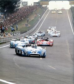 Le Mans 1973 start lap with two Matras leading the pack, #10 François Cevert lead Henri Pescarollo.