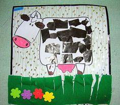 * Geef je koe vlekken (knippen) knip het gras-bloemen en teken het gras in de wei!