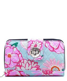 Floral Rose Pink Navy Quilted Turn Lock Wallet