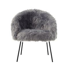 Inspired Home Belle White Faux Fur Accent Chair With Metal