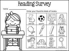 Reading Surveys Hello everyone. I hope you're enjoying a relaxing summer. Interest Inventory Elementary, Reading Interest Inventory, Reading Interest Survey, Reading Survey, Kindergarten Reading, Kids Reading, Teaching Reading, Guided Reading, Free Reading