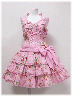 angelic pretty 胸リボンいちご花柄ジャンパースカート