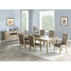 House of Hampton Branstetter 7 Piece Drop Leaf Dining Set Colour: Champagne Metal Base Dining Table, Solid Wood Dining Set, Counter Height Dining Table, Modern Dining Table, Extendable Dining Table, Dining Tables, Kitchen Dining Sets, Dining Room Sets, Dining Furniture