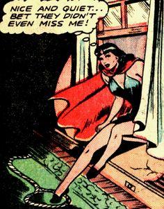 Nice and quiet, bet they didn't even miss me / Phantom Lady 1947 script by Ruth Roche, art by Matt Baker. Vintage Pop Art, Retro Art, Sci Fi Comics, Funny Comics, Comic Books Art, Comic Art, Matt Baker, Comic Frame, Comic Book Panels