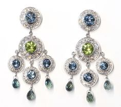 "Janet Deleuse Designer Earrings - One of a kind, Hand fabricated in 18k white gold - Gem quality Aquamarines, Peridots and Diamonds with dangling sapphire briolettes - Drops 1 3/4"" and 1"" wide - Inspi"
