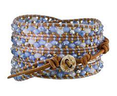 Chan Luu Blue Crystal Beaded Wrap Bracelet in Designers Chan Luu Bracelets at TWISTonline Beaded Wrap Bracelets, Bangle Bracelets, Beaded Jewelry, Handmade Jewelry, Chan Luu, Beaded Leather Wraps, Bracelet Cuir, Bijoux Diy, Bracelet Patterns
