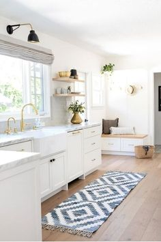 White kitchen is never a wrong idea. The elegance of white kitchens can always provide . Elegant White Kitchen Design Ideas for Modern Home Home Decor Kitchen, Rustic Kitchen, New Kitchen, Home Kitchens, Kitchen Rug, Vintage Kitchen, Kitchen Ideas, Kitchen Runner, Kitchen Layouts