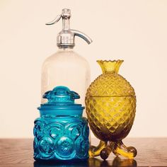Some vintage glassware from our shop + our own pineapple: ) - Catelyn