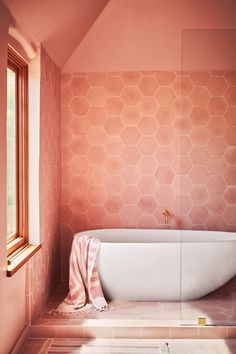 coral pink wall paint and tile in modern bathroom with freestanding tub. / sfgirlbybaycoral pink wall paint and tile in modern bathroom with freestanding tub. Retro Bathrooms, Amazing Bathrooms, White Bathrooms, Luxury Bathrooms, Bad Inspiration, Bathroom Inspiration, Bathroom Trends, Bathroom Interior, Bathroom Ideas