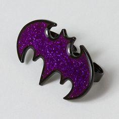 Purple power! Rock this Batgirl Glitter Two-Finger Ring for superhero status #moreismore