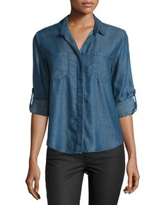 Velvet Heart Riley Tab-Sleeve Button-Front Blouse, Champion Cobalt  New offer @@@ Price :$98 Price Sale $69