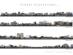 Urban redesign proposals Traffic Issue Around of the traffic uses the main road of the shopping street as a bypass route. Architecture Visualization, Urban Architecture, Architecture Collage, Urban Analysis, Site Analysis, Elevation Drawing, Building Sketch, Architectural Section, Urban Street Style
