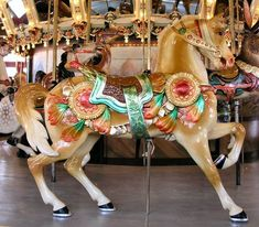 The Dentzel Carousel at Glen Echo Dentzel Outer Row Stander - Very Detailed Carving With Eagle Cantle