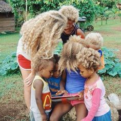 Black Family With Natural Blonde Hair.