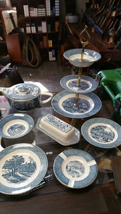 "Currier and Ives ""The Old Grist Mill"" china set...huge, no clue how much I have."