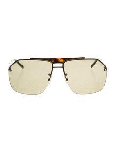 Men's silver-tone Dior Homme Aviator sunglasses with dark lenses and tortoiseshell top bar.