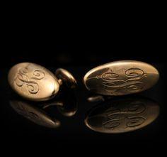 Estate 10k rose gold engraved cufflinks (ESTATE15046)   Abracadabra Jewelry/Gem Gallery - ESTATE JEWELRY