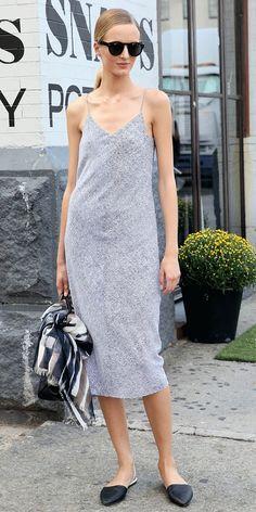 Daria Strokous wears slip dress between shows at New York Fashion Week
