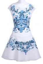 White Blue Flower Embroidery Cap Sleeve Sheath Dress $115.00 #SheInside