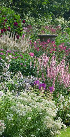 This seemed to me to be cottage garden planting density. Delicate blooms in pink, white, and purple nearly cover the antique urn in this English garden at Wollerton Old Hall. Photo by Clive Nichols Garden Photography. Herbaceous Perennials, Plants, Beautiful Gardens, Dream Garden, Garden Photography, Urban Garden, Garden Planning, Garden Design, Cottage Garden