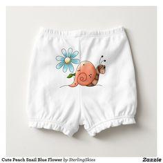 Cute Peach Snail Blue Flower Diaper Cover