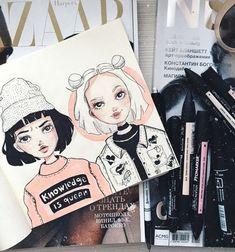 Идеи для личного дневника - ЛД | ВКонтакте Amazing Drawings, Cute Drawings, Amazing Art, Character Art, Character Design, Bd Art, Arte Fashion, Arte Sketchbook, Sketchbook Inspiration