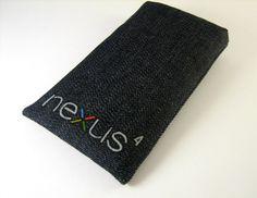 Nexus 4, Galaxy Nexus case cover sleeve handmade dark jeans and black, Nexus 4 logo. $17.00, via Etsy.