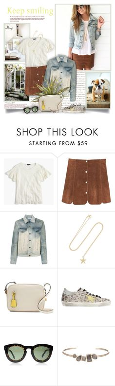 """""""Keep Smiling"""" by thewondersoffashion ❤ liked on Polyvore featuring Prada, J.Crew, MANGO, Faith Connexion, Catbird, Golden Goose, CÉLINE, Marcia Moran, jcrew and BloggerStyle"""