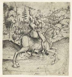 Monogrammist MZ   Het rijdende paar, Monogrammist MZ, 1500 - 1503   Een man en een vrouw rijden samen op één paard. Op de achtergrond een stad aan het water.