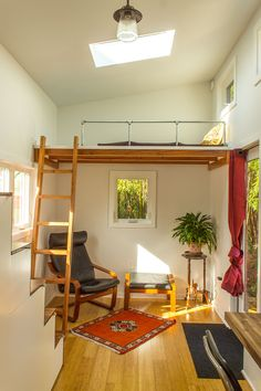 A 24′ tiny house on wheels with 184 square feet of living space built by Portland Alternative Dwellings.