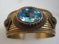 Aqua Crystal Stone Cuff Bracelet | peapatch - Jewelry on ArtFire