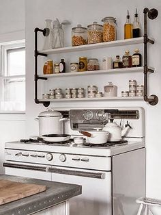 Hmmmmm..... Need shelves in my kitchen...... via armasdesign.blogspot.com