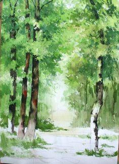 Watercolor Landscape Paintings, Watercolor Trees, Landscape Art, Floral Watercolor, Art Drawings Beautiful, Beautiful Paintings, Watercolor Pictures, Nature Drawing, Tree Art