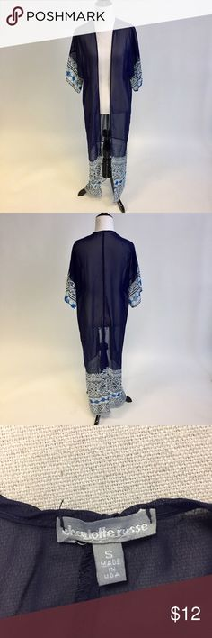 Charlotte Russe Blue Sheer Kimono Sheer kimono. Extremely light and breezy Charlotte Russe Tops
