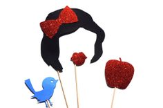 Snow White Photo Booth Props - 4 piece set - GLITTER Props - Birthdays, Weddings, Parties - Photobooth Props