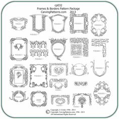 Classic Frames Borders Wood Carving Patterns By L S Irish