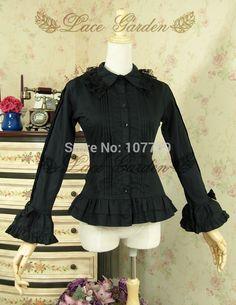 Ladies Victorian Lolita  Women Cos Anime Cosplay Costume Uniforms Gothic Palace Princess Retro Bow Black Long Sleeve Shirt