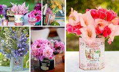 Lindas decorações com flores e latinhas