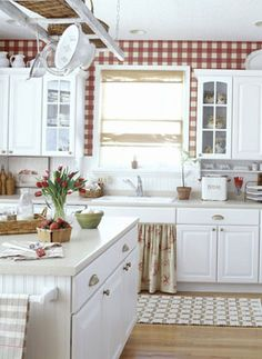 red and white gingham charming country kitchen.