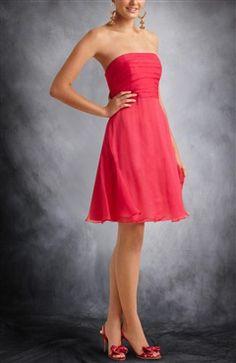 Chiffon A-line Short Sleeveless Ruffles Strapless Cocktail Dresses - OuterInner.com