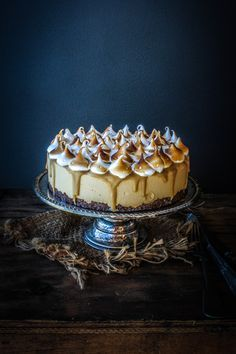 Caramel Ice Cream Cheesecake With Salted Butterscotch Sauce And Meringue