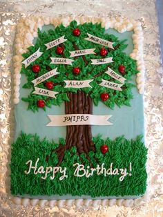 Family Tree Birthday Cake - I must give all credit for this design to Tripletmom. I saw her great family tree cake in the gallery and knew it was perfect for my Dad's birthday. Thanks for the inspiration! He loved the cake. Cake is 9X13 carrot cake with cream cheese frosting. Apples and banners are gumpaste.