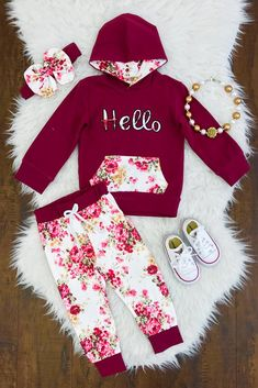 """""""Hello"""" Burgundy Hoodie Pant Set - Sparkle In Pink Baby Girl Pants, Girls Pants, My Baby Girl, Baby Baby, Little Girl Outfits, Cute Outfits For Kids, Toddler Outfits, Baby Girl Fashion, Toddler Fashion"""